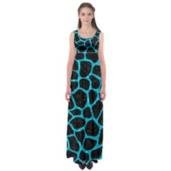 SKN1 BK-TQ MARBLE (R) Empire Waist Maxi Dress