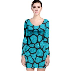 SKN1 BK-TQ MARBLE Long Sleeve Velvet Bodycon Dress