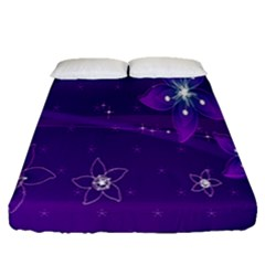 Flowers Purple Fitted Sheet (queen Size)