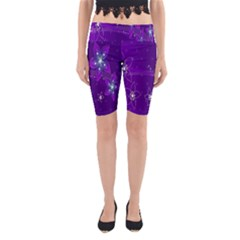 Flowers Purple Yoga Cropped Leggings