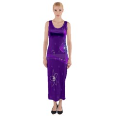 Flowers Purple Fitted Maxi Dress