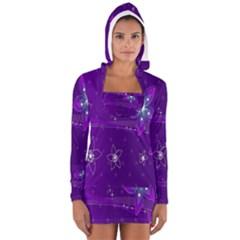 Flowers Purple Women s Long Sleeve Hooded T-shirt