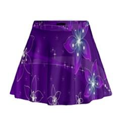 Flowers Purple Mini Flare Skirt