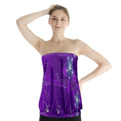 Flowers Purple Strapless Top