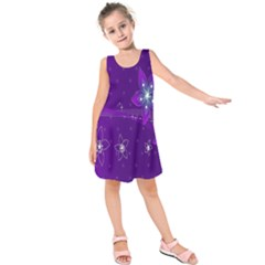 Flowers Purple Kids  Sleeveless Dress