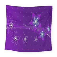 Flowers Purple Square Tapestry (large)