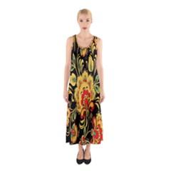 Flower Yellow Green Red Sleeveless Maxi Dress
