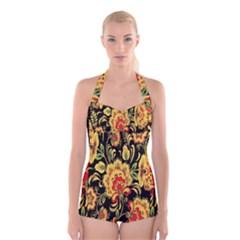 Flower Yellow Green Red Boyleg Halter Swimsuit