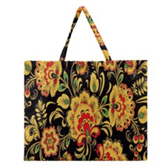 Flower Yellow Green Red Zipper Large Tote Bag