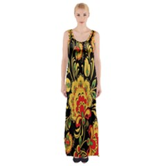 Flower Yellow Green Red Maxi Thigh Split Dress