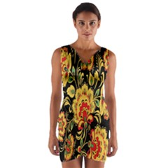 Flower Yellow Green Red Wrap Front Bodycon Dress