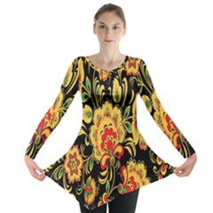 Flower Yellow Green Red Long Sleeve Tunic