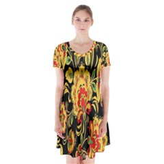 Flower Yellow Green Red Short Sleeve V-neck Flare Dress