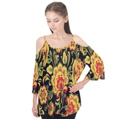 Flower Yellow Green Red Flutter Tees