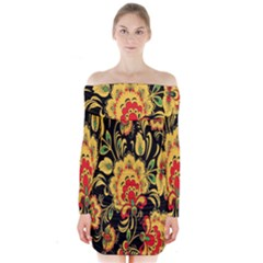 Flower Yellow Green Red Long Sleeve Off Shoulder Dress