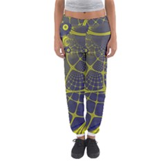 Futuristic Looking Fractal Graphic A Mesh Of Yellow And Blue Rounded Bars Women s Jogger Sweatpants