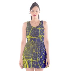 Futuristic Looking Fractal Graphic A Mesh Of Yellow And Blue Rounded Bars Scoop Neck Skater Dress