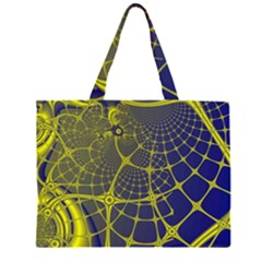 Futuristic Looking Fractal Graphic A Mesh Of Yellow And Blue Rounded Bars Large Tote Bag