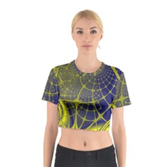 Futuristic Looking Fractal Graphic A Mesh Of Yellow And Blue Rounded Bars Cotton Crop Top