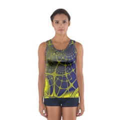 Futuristic Looking Fractal Graphic A Mesh Of Yellow And Blue Rounded Bars Women s Sport Tank Top