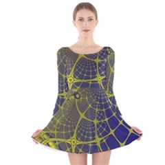 Futuristic Looking Fractal Graphic A Mesh Of Yellow And Blue Rounded Bars Long Sleeve Velvet Skater Dress