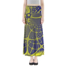 Futuristic Looking Fractal Graphic A Mesh Of Yellow And Blue Rounded Bars Maxi Skirts