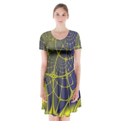 Futuristic Looking Fractal Graphic A Mesh Of Yellow And Blue Rounded Bars Short Sleeve V-neck Flare Dress