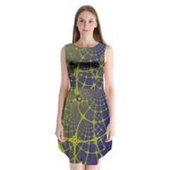 Futuristic Looking Fractal Graphic A Mesh Of Yellow And Blue Rounded Bars Sleeveless Chiffon Dress