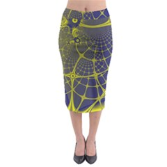 Futuristic Looking Fractal Graphic A Mesh Of Yellow And Blue Rounded Bars Midi Pencil Skirt