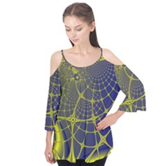 Futuristic Looking Fractal Graphic A Mesh Of Yellow And Blue Rounded Bars Flutter Tees