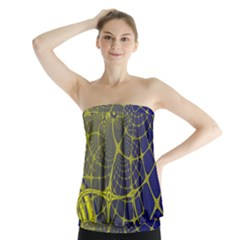 Futuristic Looking Fractal Graphic A Mesh Of Yellow And Blue Rounded Bars Strapless Top