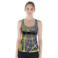 Futuristic Looking Fractal Graphic A Mesh Of Yellow And Blue Rounded Bars Racer Back Sports Top