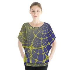 Futuristic Looking Fractal Graphic A Mesh Of Yellow And Blue Rounded Bars Blouse