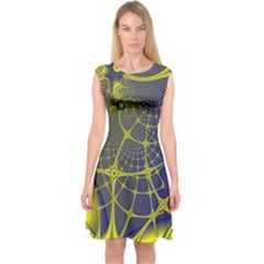 Futuristic Looking Fractal Graphic A Mesh Of Yellow And Blue Rounded Bars Capsleeve Midi Dress