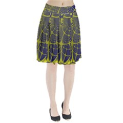 Futuristic Looking Fractal Graphic A Mesh Of Yellow And Blue Rounded Bars Pleated Skirt