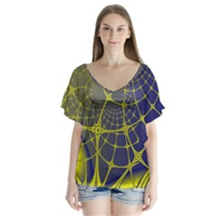 Futuristic Looking Fractal Graphic A Mesh Of Yellow And Blue Rounded Bars Flutter Sleeve Top