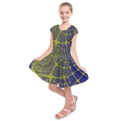Futuristic Looking Fractal Graphic A Mesh Of Yellow And Blue Rounded Bars Kids  Short Sleeve Dress