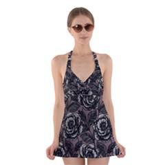 Gray Flower Rose Halter Swimsuit Dress