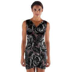 Gray Flower Rose Wrap Front Bodycon Dress