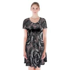 Gray Flower Rose Short Sleeve V-neck Flare Dress