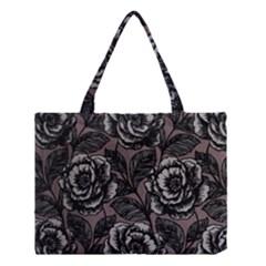 Gray Flower Rose Medium Tote Bag