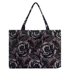 Gray Flower Rose Medium Zipper Tote Bag