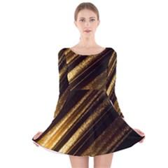 Gold Long Sleeve Velvet Skater Dress