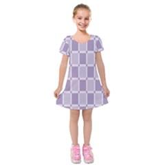 Gray Purple Kids  Short Sleeve Velvet Dress