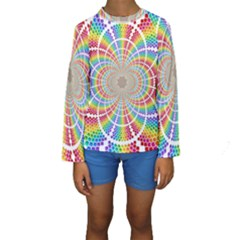 Color Background Structure Lines Kids  Long Sleeve Swimwear
