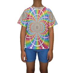 Color Background Structure Lines Kids  Short Sleeve Swimwear