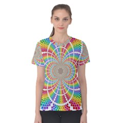 Color Background Structure Lines Women s Cotton Tee