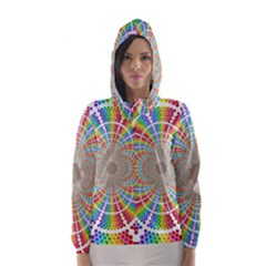 Color Background Structure Lines Hooded Wind Breaker (women)