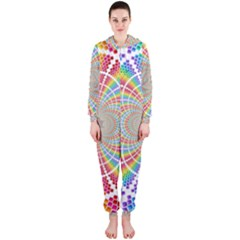 Color Background Structure Lines Hooded Jumpsuit (ladies)