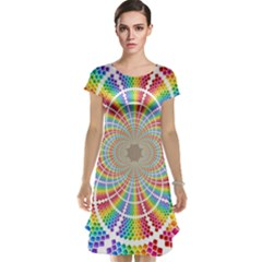 Color Background Structure Lines Cap Sleeve Nightdress